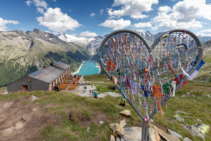 heart-shaped iron installation near the refuge Olperer with Lake Schlegeispeicher on the background, Zillertal Alps, Tyrol, Schwaz district, Austria