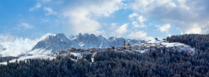 panoramic winter view of the village and municipality of Danta di Cadore, Cadore, Belluno, Veneto, Italy