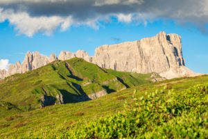 summer view towards the Giau pass with the Croda da Lago and the Lastoi di Formin mountains, Dolomites, Colle Santa Lucia, Belluno, Veneto, Italy
