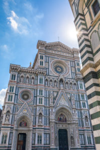 The facade of the Cathedral of Florence, Cathedral of Saint Mary of the Flower, Tuscany, Italy Europe