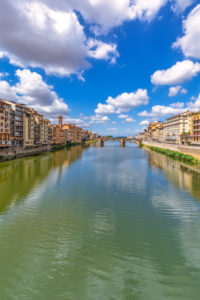 Santa Trinità bridge with the Oltrarno district, Florence, Tuscany, Italy