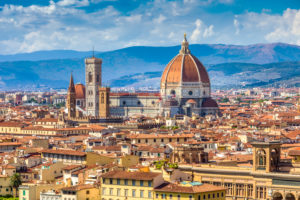 Brunelleschi's Dome, the nave, and Giotto's Campanile of the Cathedral of Saint Mary of the Flower as seen from Michelangelo Hill, Florence, Tuscany, Italy, Europre