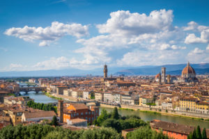 view on Firenze historic centre with the palaces and the Arno river, Florence Tuscany, Italy, Europe