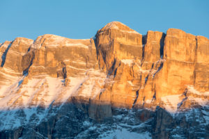 Monte Cavallo / L'Ciaval / Heiligkreuzkofel in the alpenglow light, Dolomites, Abtei, Badia, Gadertal valley, province of Bolzano-Bozen, Italy, Europe