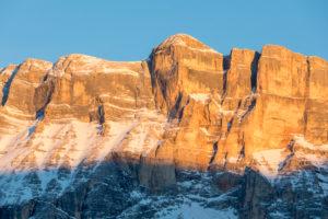 Monte Cavallo / L'Ciaval / Heiligkreuzkofel in the alpenglow light, Dolomites, Abtei, Badia, Gadertal valley, province of Bolzano-Bozen, Italy, Europe