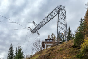 electricity pylon collapsed after the vaia storm, wind storm on the dolomites, veneto, italy, europe