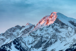 Sunrise on the Hoher Goell / Hoher Göll mountain, Berchtesgaden Alps, on the border of Bavaria and Salzburg, Austria / Germany, Europe