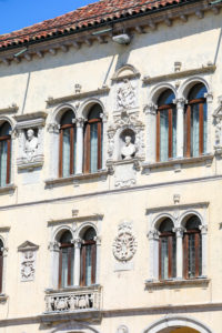 Italy, Veneto, Belluno, Dolomites, detail of the facade of the Palazzo dei Rettori