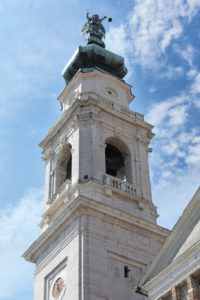Italy, Veneto, Belluno, Dolomites, the Cathedral or Basilica of San Martino, detail of the belfry