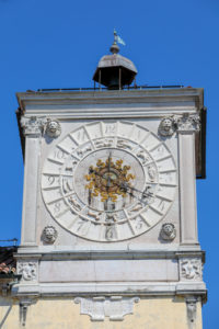 Italy, Veneto, Belluno, Dolomites, detail of the Clock Tower of Palazzo dei Rettori with the zodiacal signs