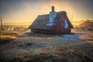 fisherman's cottage in the fjord harbour of Nymindegab in Denmark in the early morning