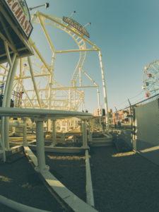 amusing park on coney island, roller coaster