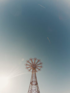 old parachutes ride on coney island, nyc