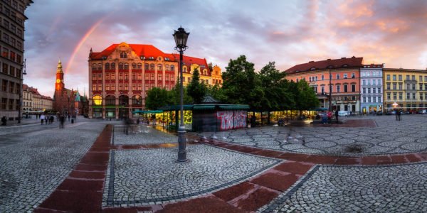 Europe, Poland, VoivodeshipLower Silesian, Wroclaw, Breslau - Market Square and Town Hall