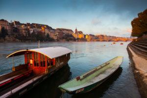 Europe, Switzerland, Basel, rhine river, boats