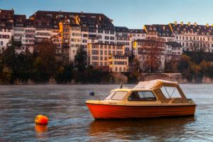 Europe, Switzerland, Basel, river rhine, boat