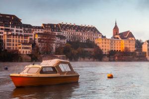 Europe, Switzerland, Basel, rhine river, boat