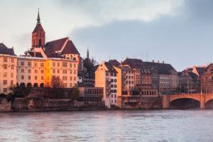Europe, Switzerland, Basel, historic city centre, rhine river, dusk