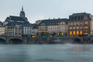Europe, Switzerland, Basel, city view, river rhine, dusk