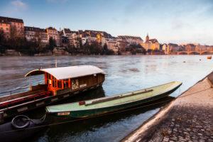 Europe, Switzerland, Basel, river rhine, boats