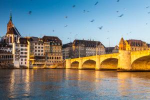 Europe, Switzerland, Basel, bridge over river rhine