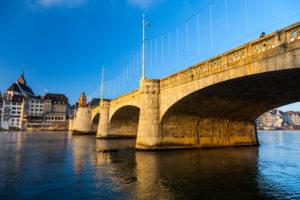 Europe, Switzerland, Basel, bridge over rhine river