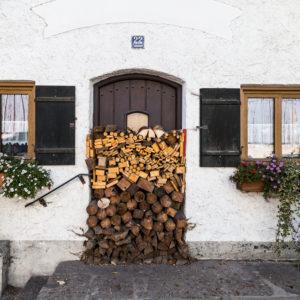 Europe, Germany, Bavaria, Warngau, wood in front of a door