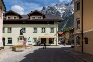 Germany, Bavaria, Mittenwald, Matthias Klotz memorial, Karwendel mountains