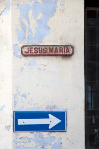 Caribbean, Cuba, Havana, La Habana, street sign on  an old house facade