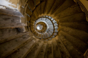 Spiral staircase of the Monument in London, England, The Monument to the Great Fire of London