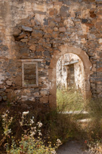 Archway and window of a ruined house,  Spinalonga, (former leprosy island) , Greece, Crete, Kalydon