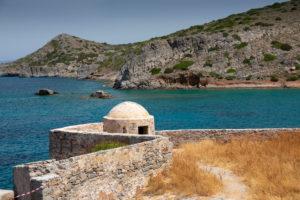 Blick auf Nachbarinsel von Spinalonga aus, Griechenland, Kreta, Kalydon
