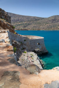 View on fortress of Spinalonga and the blue Mediterranean Sea, Greece, Crete, Kalydon