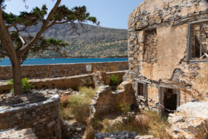 ruined houses of the island Spinalonga, former leprosy island , Greece, Crete, Kalydon