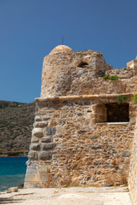 Derelict watchtower of the harbor entrance on Spinalonga, former leprosy island, Greece, Crete, Kalydon