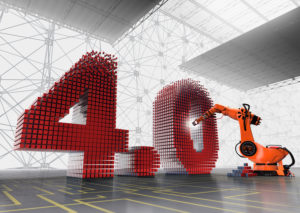 Industrie 4.0, 3D-Ziffer 4.0 mit Industrieroboter in Halle mit Network im Hintergrund auf grau-gelben Boden