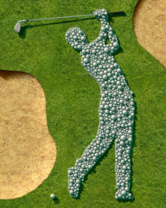 Golf course, grass, bunker, Detail, Symbol, golfer, balls, golf balls, golf clubs,
