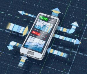 Illustration eines Smartphones mit Pfeilen und Koordinaten-Linien im Hintergrund sowie Finanzcharts Kauf- und Verkaufbutton im Display, dunkelblauer Hintergrund mit Zahlenmuster