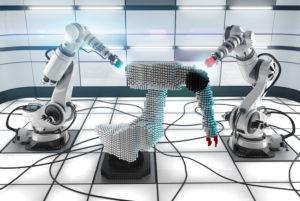 Zwei Industrieroboter bauen einen dritten, stilisierten Prototyp in einem hellen, klinischen Labor