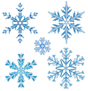 Drawn snowflakes in blue tones against isolated, white background