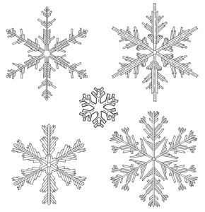 Drawn snowflakes in black and white in front of isolated, white background for coloring