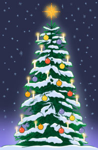 Snow-covered Christmas tree with candles, colorful Christmas tree balls and star top against a dark blue starry sky