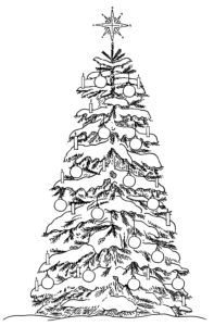 Snow-covered Christmas tree with candles, baubles and star lace in black white for coloring