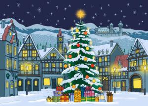Winterliches Weihnachtsdorf bei Nacht mit Weihnachtsbaum, Fachwerkhäusern und Burg in Schneelandschaft vor Sternenhimmel