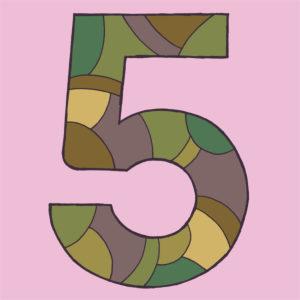 Ziffer Fünf, gezeichnet als Vektorillustration, in grünlich-braunen Tarnfarben auf hellviolettem Hintergrund in Pop-Art-Stilistik