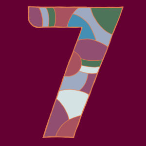 Digit seven, drawn as a vector illustration, in colorful shades on a burgundy background in pop art style