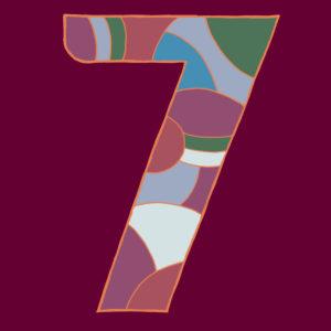 Ziffer Sieben, gezeichnet als Vektorillustration, in bunten Farbtönen auf weinrotem Hintergrund in Pop-Art-Stilistik
