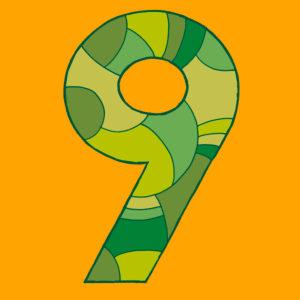 Ziffer Neun, gezeichnet als Vektorillustration, in grünlichen Farbtönen auf gelbem Hintergrund in Pop-Art-Stilistik