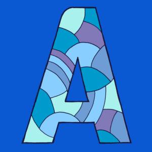 Buchstabe A, gezeichnet als Vektorillustration, in blauen Farbtönen auf blauem Hintergrund in Pop-Art-Stilistik