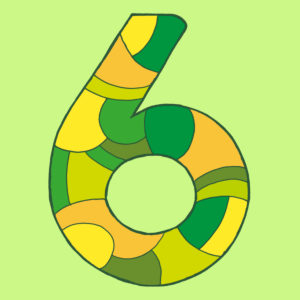 Numeral six, drawn as a vector illustration, in green-yellow shades on a light green background in pop art style